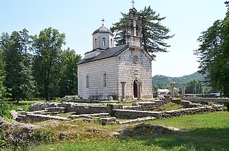 Cetinje Monastery - Court Church in Cetinje, remains of the original monastery can be seen around