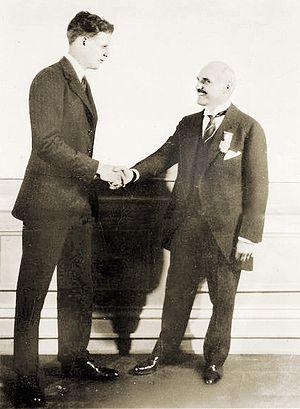 Charles Lindbergh (left) and Raymond Orteig (r...