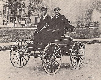 Charles Brady King -  First car ever driven in Detroit.   Charles Brady King is on the right.