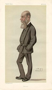 Caricature of Charles Boycott by Spy (Leslie Ward). Boycott is shown with a long grey beard, a long nose and a bald head.