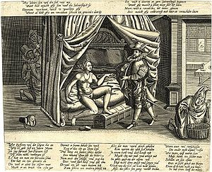 Eric Dingwall - A caricature on the ultimate ineffectualness of chastity belts. According to information in the scholarly work The Girdle of Chastity by Eric John Dingwall, there were a number of versions, but this specific version of the caricature was published ca. 1590.