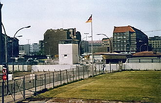Checkpoint Charlie - Soviet Zone from Checkpoint Charlie observation post, 1982