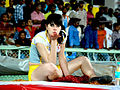 Cheer leader flying kiss at CCL match, Vizag India.jpg