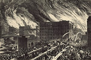 John R Chapin's rendering of the Great Chicago Fire, printed in Harper's Weekly