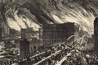 Chicago - An artist's rendering of the Great Chicago Fire of 1871