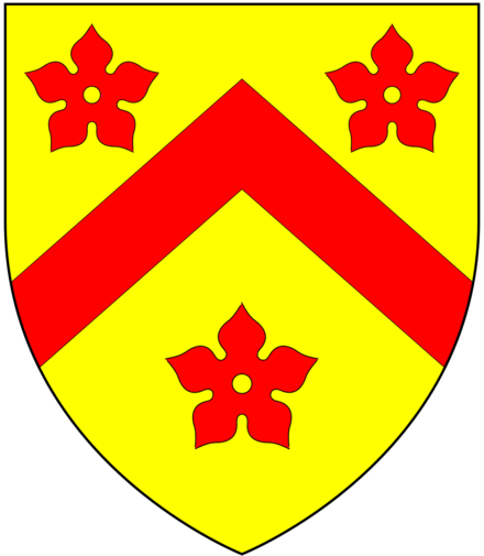 Arms of Chichele: Or, a chevron between three cinquefoils gules ChicheleArms.png