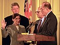 Chief Justice William Rehnquist Administers the Oath of Office to Judge Ruth Bader Ginsburg as Associate Supreme Court Justice at the White House - NARA - 131493872 (1).jpg