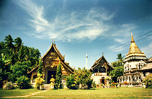 Thai temple art and architecture - Wat Chiang Man, from left to right: Ubosot, Ho Trai and Chedi