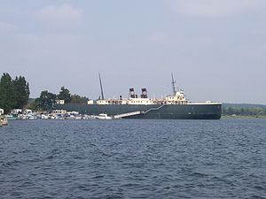 Manistee, Michigan - The SS ''City of Milwaukee'', a retired railroad car ferry, in Manistee harbor