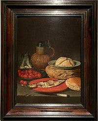 Clara Peeters - Stilleven met haring, kersen, artisjok, kruik en een porseleinen schaaltje met boter - privécollectie.jpg