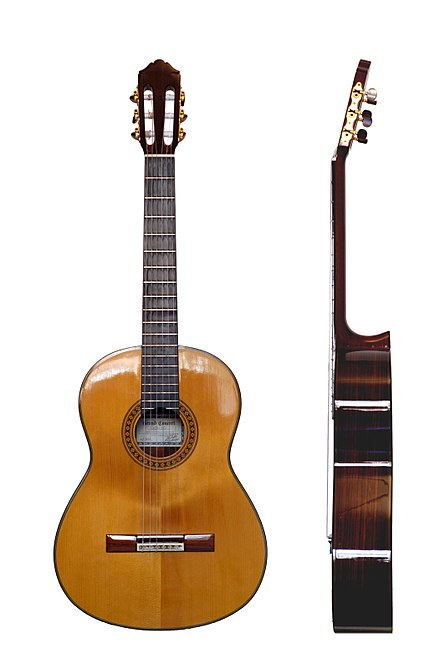 The modern classical guitar and its baroque predecessor were invented in Spain Classical Guitar two views.jpg