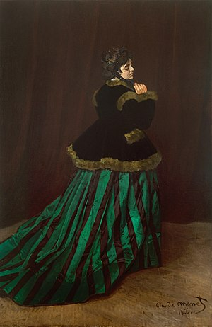 Claude Monet - The Woman in the Green Dress, Camille Doncieux, 1866, Kunsthalle Bremen