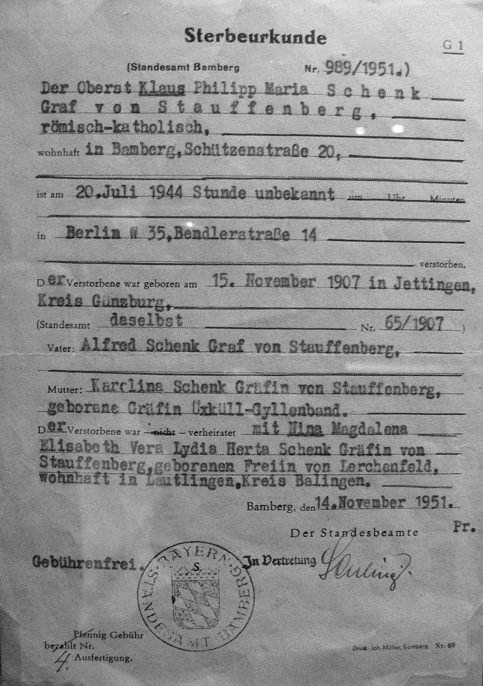Claus Schenk Graf von Stauffenberg Sterbeurkunde 1944