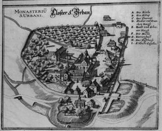 Saint Urban's Abbey - Plan of St. Urban's Abbey in 1654