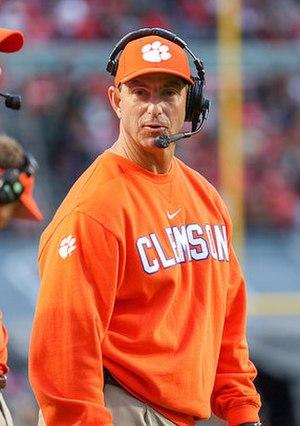 Dabo Swinney - Swinney coaching the Clemson Tigers in 2015