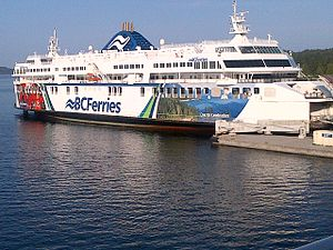 Swartz Bay Ferry Terminal - BC Ferries MV Coastal Celebration docked at Swartz Bay, British Columbia terminal in May 2014.