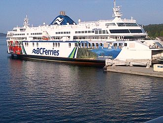 Swartz Bay Ferry Terminal - BC Ferries MV Coastal Celebration docked at Swartz Bay, British Columbia terminal in May 2014.