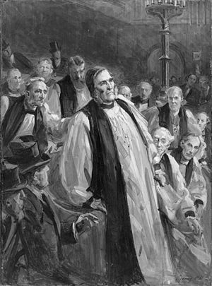 Frederick Temple - Painting by Sydney Prior Hall depicting Archbishop Temple's collapse in the House of Lords while delivering a speech on the Education Bill, 1902.