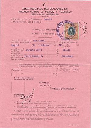 Avis de réception - Colombia internal AR form 1912.