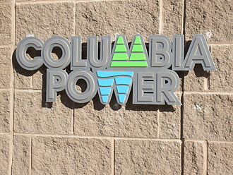 Columbia Power Corporation - Columbia Power logo on the headquarters building, Castlegar British Columbia