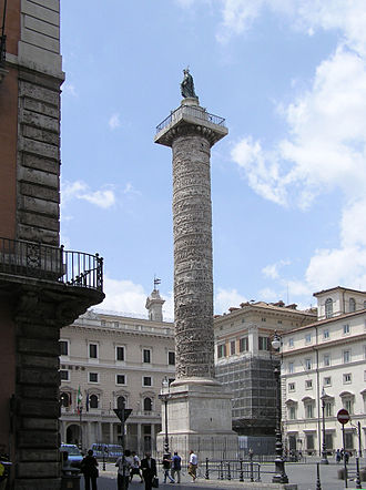 Romans in Slovakia - The Column of Marcus Aurelius in Piazza Colonna, Rome, depicting his victorious campaign against the Marcomanni, Quadi, and Sarmatians