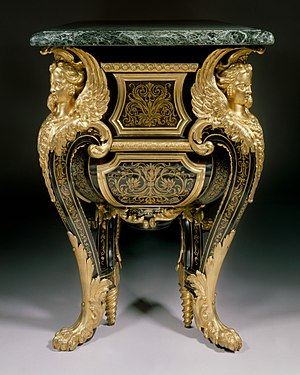 André Charles Boulle - Commode by André-Charles Boulle, son of Jean Boulle: (ca. 1710–20). Walnut veneered with ebony, marquetry of engraved brass and tortoiseshell, gilt-bronze mounts, verd antique marble