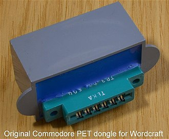 Software protection dongle - This is the original dongle used on the cassette port of a Commodore PET computer to protect the Wordcraft word processor.