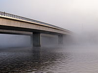 Commonwealth Avenue Bridge on a foggy morning