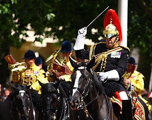 Household Cavalry Mounted Regiment - Major Tim Cooper, Director of Music of The Blues and Royals conducting the Mounted Band of The Blues and Royals