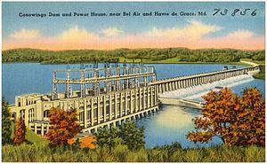 Conowingo Dam - Postcard of dam