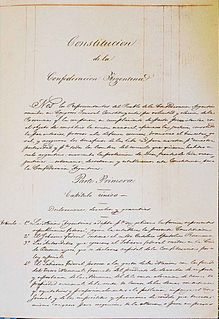 Argentine Constitution of 1853 First constitution of Argentina approved with the support of the governments of the provinces, sanctioned in May 1853.