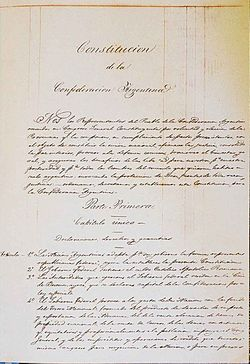 Cover of the original manuscript of the 1853 Constitution