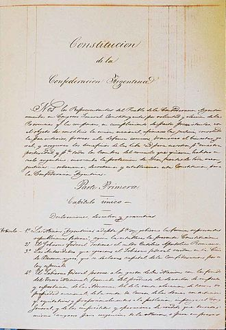 Argentine Constitution of 1853 - Cover of the original manuscript of the 1853 Constitution