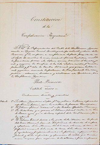 Constitution of Argentina - Image: Constitución Nacional Argentina 1853 página 1