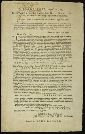 Benjamin Lincoln - Broadside from John Hancock, Continental Congress, with mention of letter from Benjamin Lincoln, 1777. Printed by John Dunlap