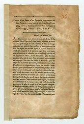Copie d'une lettre d'un capitaine présentement au Cap François, venue par le navire le Cap-François, arrivée à Nantes, en trente-huit jours, le 15 Novembre 1791, adressée a Paris à M.W.