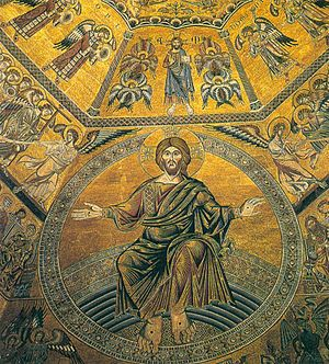 Coppo di Marcovaldo - Attributed to Coppo di Marcovaldo - Mosaic on the vault (Detail of Christ). Second half of thirteenth century. Baptistery, Florence.