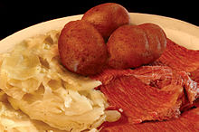 Corned Beef Dinner With Potatoes And Cabbage Ireland