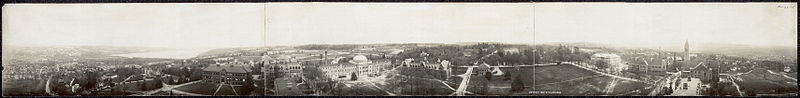 A cyclorama view of Cornell University from McGraw Hall embracing 360 degrees (1902)