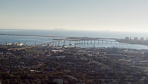 San Diego–Coronado Bridge - A view of the bridge from a commercial jet