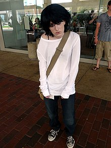Cosplay of L Lawliet, with satchel, Otakon 2012.jpg