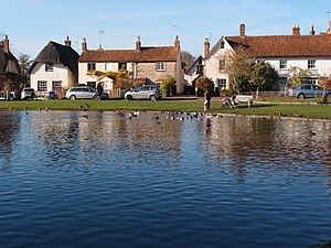 Haddenham, Buckinghamshire - Image: Cottages beyond Haddenham duck pond geograph 3230575 by Michael Trolove