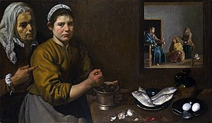 Women in Christianity - ''Christ in the House of Martha and Mary'', Diego Velázquez, 1618. Unusually for his epoch, Jesus is said to have provided religious instruction to women.