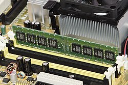 1 GiB of SDRAM mounted in a personal computer. An example of primary storage.