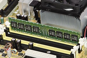 Computer data storage - 1 GiB of SDRAM mounted in a personal computer. An example of primary storage.