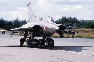 Allied Forces Baltic Approaches - An RF-35 Draken taxiing into takeoff position during Exercise OKSBOEL '86 at Karup Air Base.