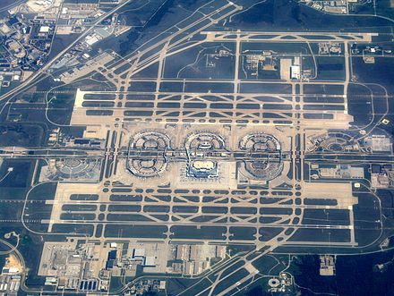 In 2015, the DFW International Airport was the 10th busiest airport in the world by passenger traffic. DFWAirportOverview.jpg