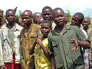 Children in the military - A group of demobilized child soldiers in the Democratic Republic of the Congo