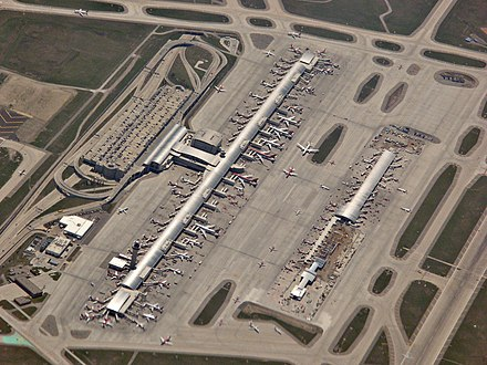 Aerial of Detroit Metro Airport, one of the largest air traffic hubs in the US DTW aerial.jpg