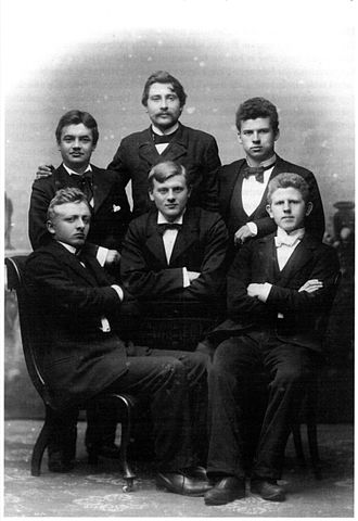 Janus Djurhuus - Janus Djurhuus (front row, left) in 1900 with (back row, left to right) Jákup Dahl, Magnus Dahl and Jógvan Waagstein; (front row) Petur Dahl and Oluf Skaalum